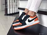 Женские кожаные кроссовки Nike Air Jordan 1 Low (бело-черные с оранжевым) 9160, фото 3