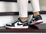 Женские кожаные кроссовки Nike Air Jordan 1 Low (темно-синий с белым) 9161, фото 4