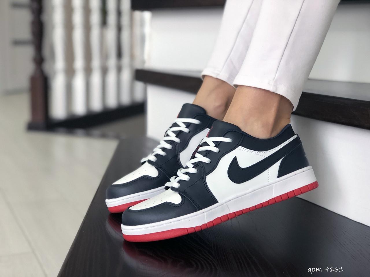 Женские кожаные кроссовки Nike Air Jordan 1 Low (темно-синий с белым) 9161