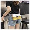 Сумка желтая с белым через плечо с ромбом, фото 7