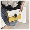 Сумка желтая с белым через плечо с ромбом, фото 5