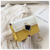 Сумка желтая с белым через плечо с ромбом, фото 9