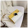 Сумка желтая с белым через плечо с ромбом, фото 10