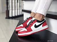 Женские кожаные кроссовки Nike Air Jordan 1 Low (бело-красные) 9162