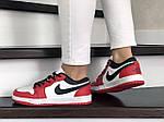 Жіночі шкіряні кросівки Nike Air Jordan 1 Low (біло-червоні) 9162, фото 4