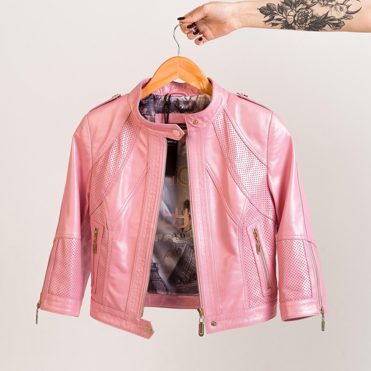Кожаная куртка VK розовая летняя короткая  (Арт.LT311-P)