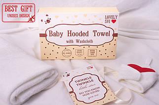 Детское Полотенца с Капюшоном для девочек - Полотенце Уголок - Банное полотенце для детей - Бонус: Мочалка, фото 3