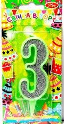 """Свічка """"3"""" в торт цифра в контурі, салатова, Свеча в торт цифра """"3"""""""