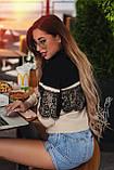 """Женский вязаный нарядный свитерок 0652 """"Кокетка Контраст Кружево"""", фото 2"""