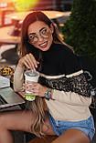 """Женский вязаный нарядный свитерок 0652 """"Кокетка Контраст Кружево"""", фото 3"""