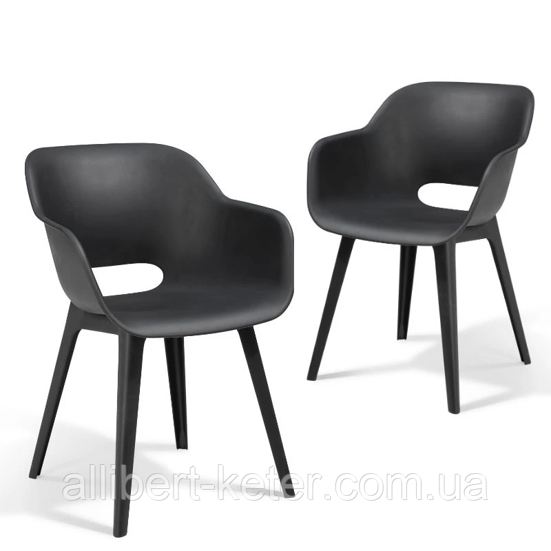 Стул садовый уличный Allibert Akola Duo Dining Chair Graphite ( графит )