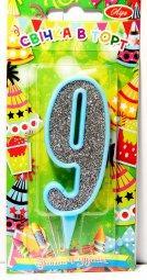 """Свічка в торт цифра в контурі """"9"""", блакитна, Свеча в торт цифра """"9"""""""
