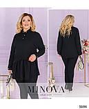 Невероятно стильная лёгкая блуза-туника воротником и короткой планкой по полочке, 6 цветов р.48-64 код 3323Ф, фото 4