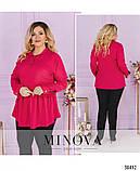 Невероятно стильная лёгкая блуза-туника воротником и короткой планкой по полочке, 6 цветов р.48-64 код 3323Ф, фото 3