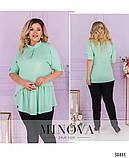 Невероятно стильная лёгкая блуза-туника воротником и короткой планкой по полочке, 6 цветов р.48-64 код 3323Ф, фото 2
