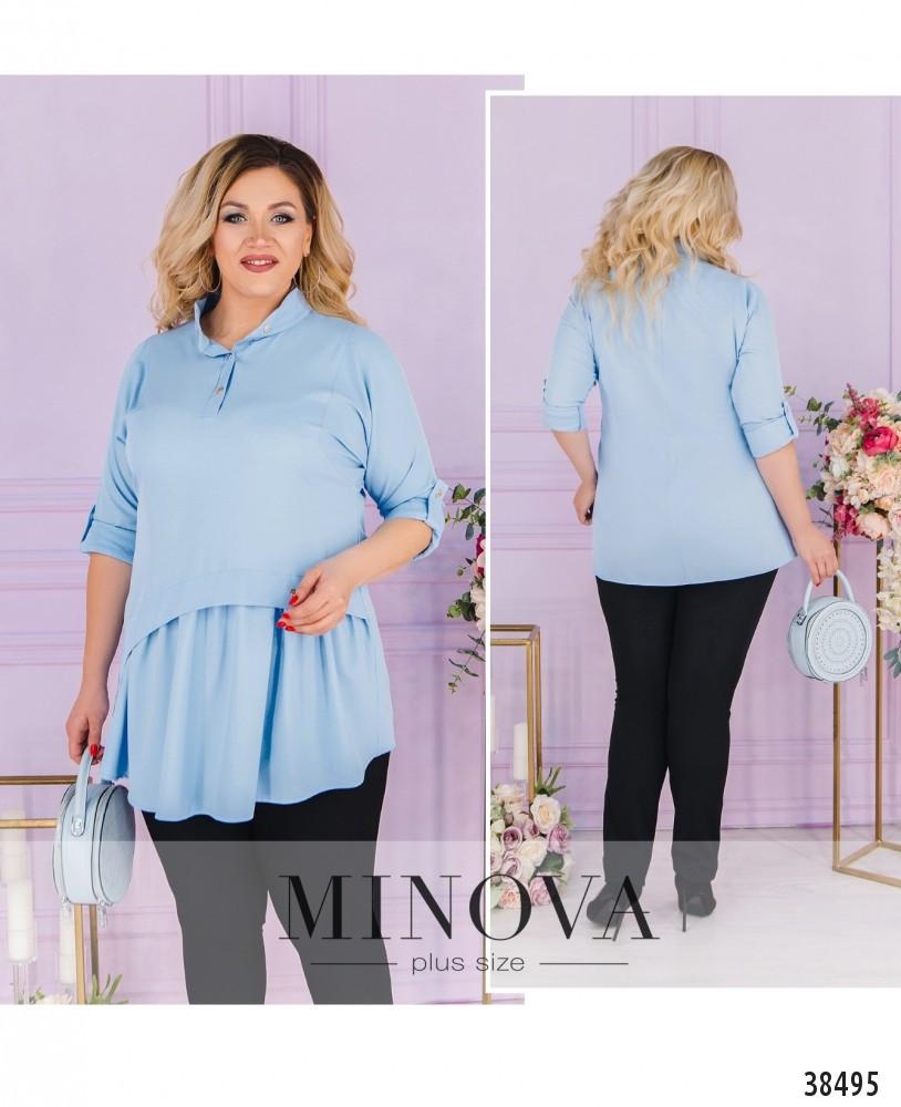 Невероятно стильная лёгкая блуза-туника воротником и короткой планкой по полочке, 6 цветов р.48-64 код 3323Ф