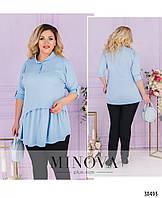 Невероятно стильная лёгкая блуза-туника воротником и короткой планкой по полочке, 6 цветов р.48-64код 3323Ф