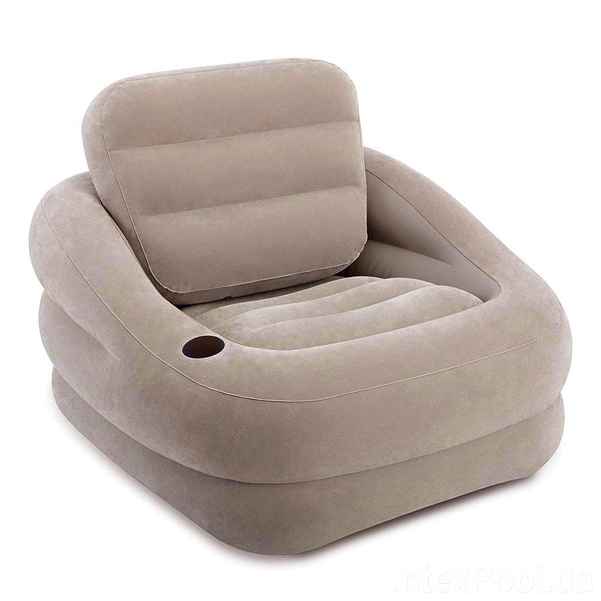 """Надувное кресло Intex 68587 """"Accent Chair - Серое"""" 97х107х71см с подстаканником"""