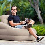 """Надувное кресло Intex 68587 """"Accent Chair - Серое"""" 97х107х71см с подстаканником, фото 4"""