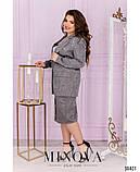 Деловой костюм из костюмной жаккардовой ткани пиджак + юбка, р.48,50,52,54 код 3314Ф, фото 5