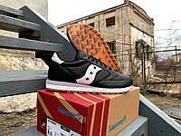 Мужские кожаные кроссовки Saucony Jazz Original Leather Black White, 70461-1s, Оригинал