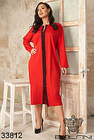 Прямое повседневное платье средней длины с кружевом по центру полочки с 46 по 60 размер