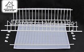 Сушка для посуды в шкаф 80 см, двухуровневая с крепежом и поддоном
