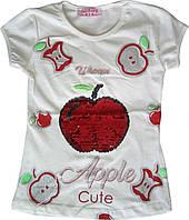 Дитяча футболка для дівчаток 2-5 років, з паєтками