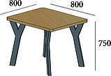 Стол обеденный Уно 4 ноги Loft Металл-Дизайн, фото 2