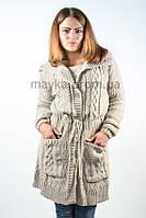 Кардиган - пальто с пояском бежевый р.48-50
