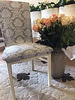 Чехлы без оборки на стулья жаккардовые MILANO LUX натяжные набор 6-шт золотисто-бежевые № 2