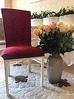 Чехлы без оборки на стулья жаккардовые MILANO LUX натяжные набор 6-шт бордовые № 4