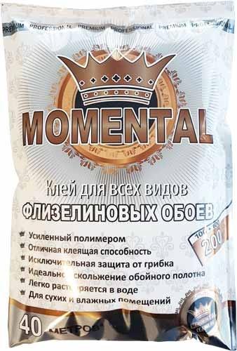 """Клей для обоев """"Мomental"""" флизелин белый 200гр."""