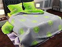Комплект постельного белья размер ДВУСПАЛЬНЫЙ материал - бязь серо-салатовый одуванчики