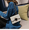 Белая прошита женская сумка через плечо с ромбом, фото 5
