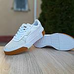 Женские кожаные кроссовки Puma Cali Bold (бело-бежевые) 20023, фото 5