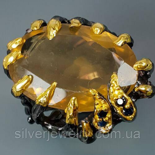 Серебряное кольцо с ФЛЮОРИТОМ (натуральный), серебро 925 пр. Размер 17,5