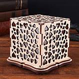 """Соляной светильник деревянный куб """"Сердца"""", фото 2"""