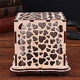 """Соляной светильник деревянный куб """"Сердца"""", фото 3"""