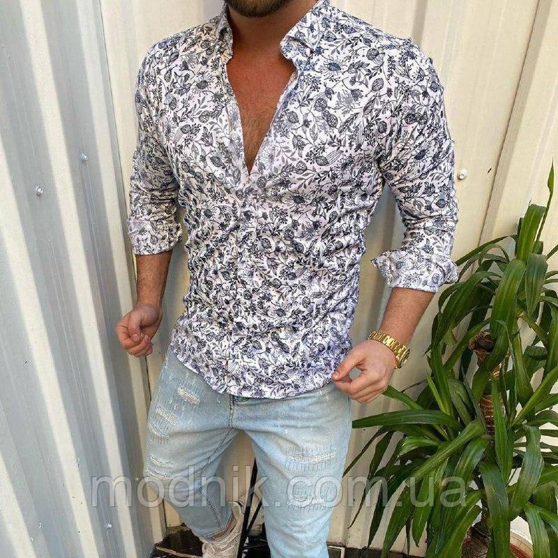 Мужская стильная рубашка с листиками - Турция (r14)