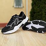 Мужские кожаные кроссовки Adidas OZWEEGO (черно-белые) 10039, фото 5