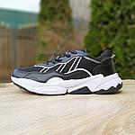 Мужские кожаные кроссовки Adidas OZWEEGO (черно-белые) 10039, фото 6