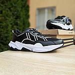 Мужские кожаные кроссовки Adidas OZWEEGO (черно-белые) 10039, фото 7