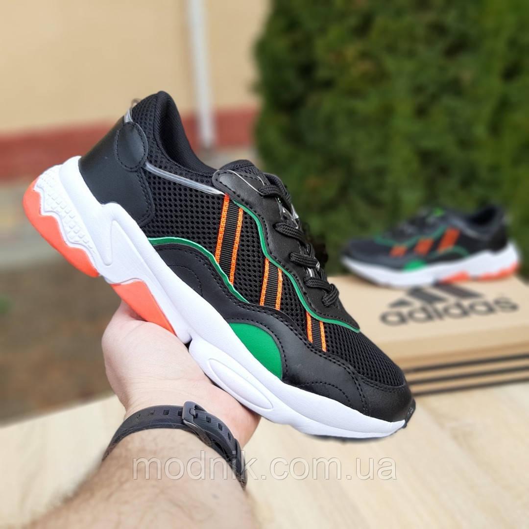 Мужские кожаные кроссовки Adidas OZWEEGO (черно-зеленые) 10040
