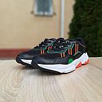 Мужские кожаные кроссовки Adidas OZWEEGO (черно-зеленые) 10040, фото 2