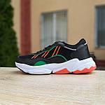 Мужские кожаные кроссовки Adidas OZWEEGO (черно-зеленые) 10040, фото 3