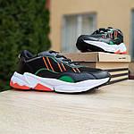 Мужские кожаные кроссовки Adidas OZWEEGO (черно-зеленые) 10040, фото 4