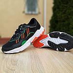 Мужские кожаные кроссовки Adidas OZWEEGO (черно-зеленые) 10040, фото 5