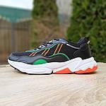 Мужские кожаные кроссовки Adidas OZWEEGO (черно-зеленые) 10040, фото 6