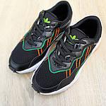 Мужские кожаные кроссовки Adidas OZWEEGO (черно-зеленые) 10040, фото 7